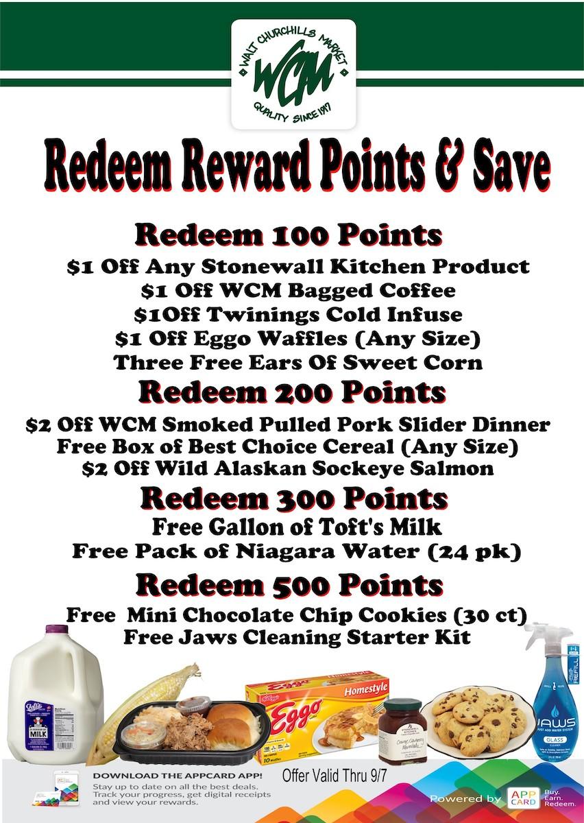 Redeem WCM Reward Points and Save